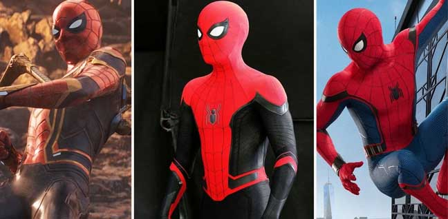 the newest 3 kinds of spiderman suit in the movie