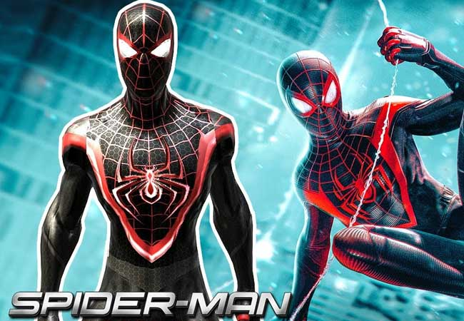 the spiderman ps5 game miles morales black and red suit